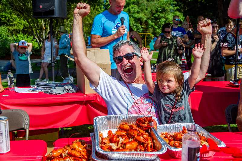 PAMPLIN MEDIA GROUP: DIEGO DIAZ - Dr. Paul Pumilia, an internal medicine doctor from Bonney Lake, Wash., wins the Tualatin Crawfish Festival Crawfish Eating Contest for second time in a row. This is the third time hes taken top prize, which he said is a record for the contest.