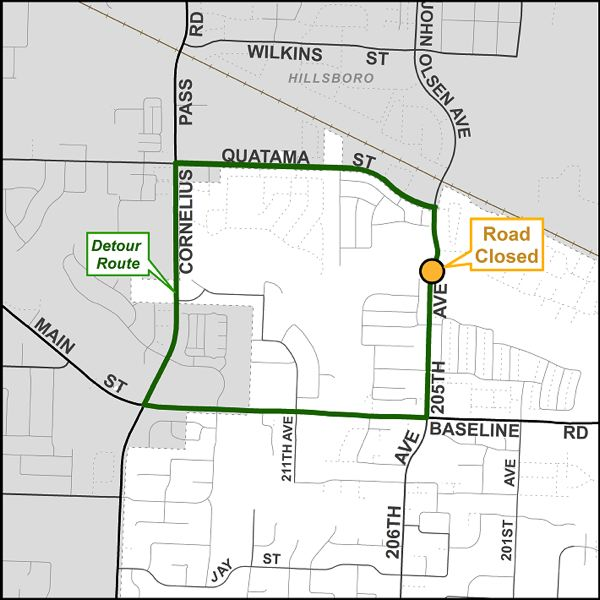 COURTESY MAP: WASHINGTON COUNTY - A bridge over Beaverton Creek is undergoing maintenance this month, so Northwest 205th Avenue is closing on Monday, Aug. 12, in between Gracie and Quatama streets.