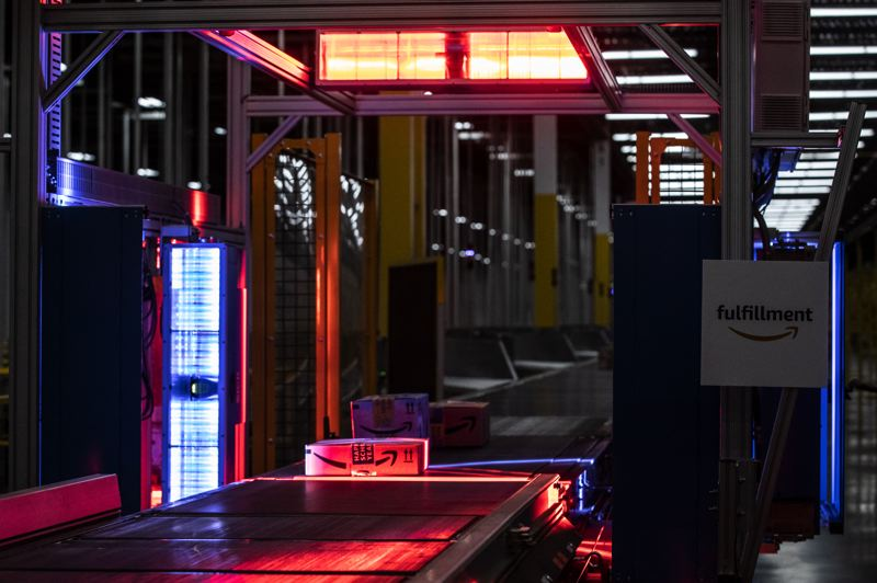 PMG PHOTO: JONATHAN HOUSE - A package is scanned and ready to be shipped at the Amazon Robotics Fulfillment Center.