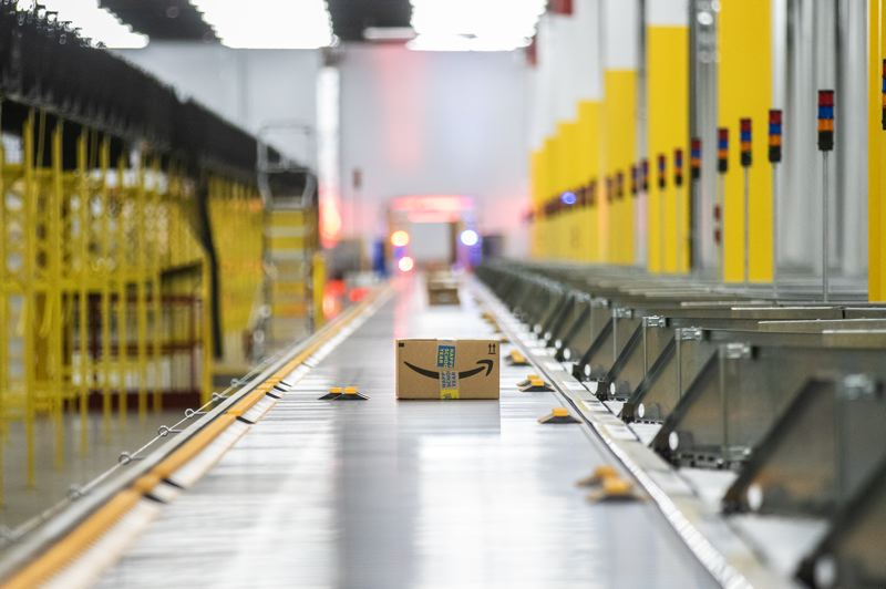 PMG PHOTO: JONATHAN HOUSE - A package is sorted and ready to be shipped at the Amazon Robotics Fulfillment Center.
