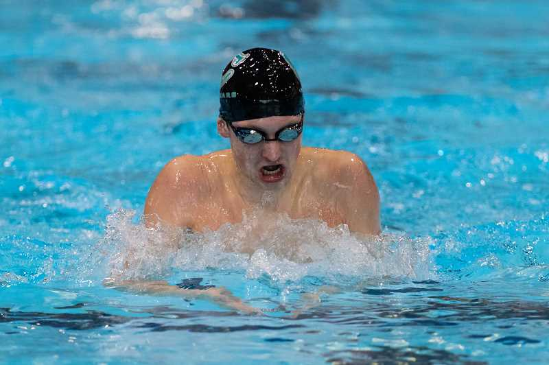 PMG PHOTO: CHRISTOPHER OERTELL - Century's Luke Thornbrue competes in a swim meet at Shute Park Aquatic Center in Hillsboro on Jan. 10.
