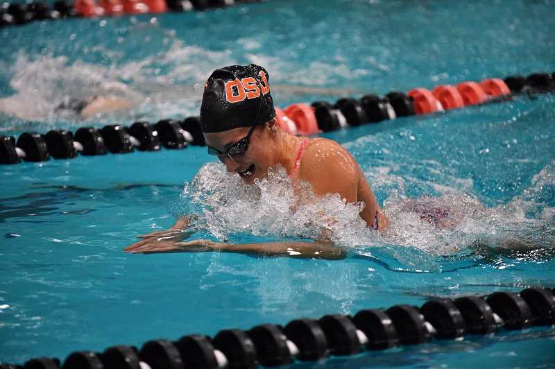COURTESY PHOTO - Forest Grove High 2018 graduate Cali Rowland competes in the breaststroke for Oregon State University this past season. OSU ended its program and Rowland has since transferred to San Jose State.
