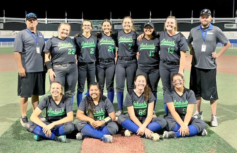 SUBMITTED PHOTO - A team comprised of mostly Newberg softball players won the 16-U club softball championship last month in Redding, Calif.