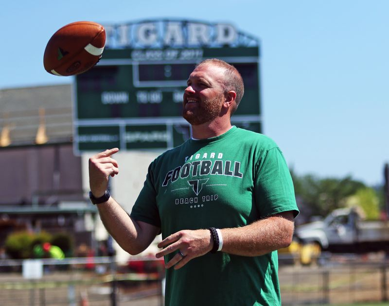 PMG PHOTO: DAN BROOD - John Kemper, who has been an assistant coach in the Tigard High School football program the past 10 years, takes over as the Tigers' head coach this year.
