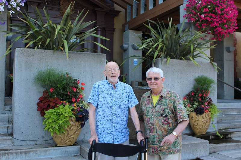 PMG PHOTO: COREY BUCHANAN - Quent Neufeld (left) and Alan Wells are Mary's Woods at Marylhurst residents who are also part of the Portland Old Boys Breakfast Club.