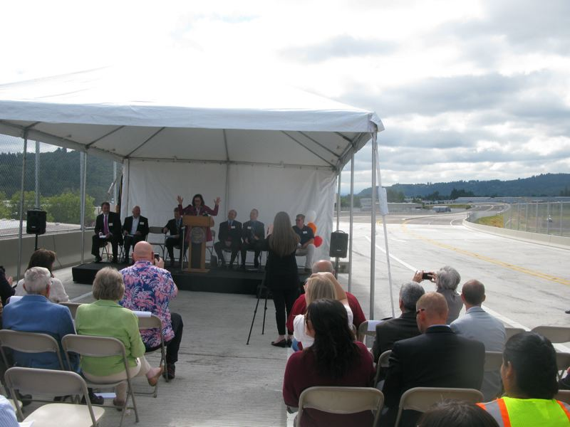 PHOTO BY RAYMOND RENDLEMAN - Gov. Kate Brown speaks at the 2016 dedication of the new Sunrise Expressway.