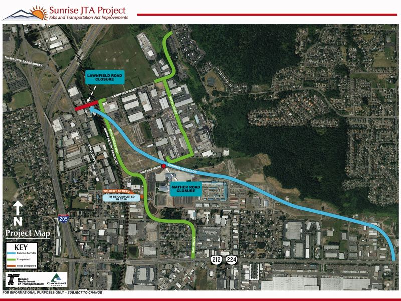 PHOTO COURTESY: ODOT - This map reflects the first phase of the Sunrise project completed in 2016.