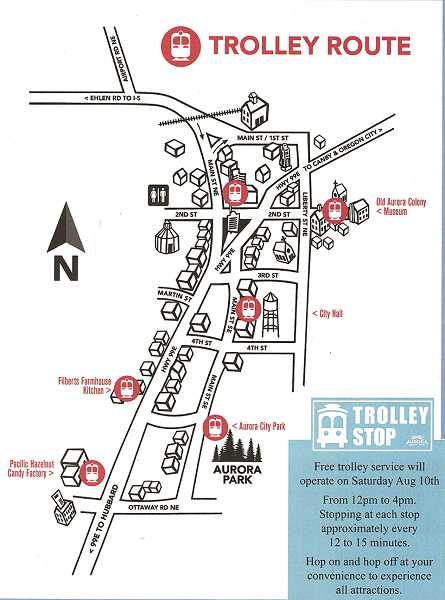 The map to something new, a trolley service that will run throughout town to help Aurora Colony Days event-goers get around.