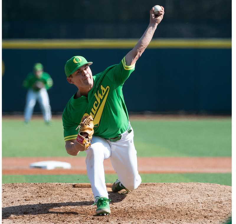 COURTESY PHOTO: GODUCKS.COM/DEBORAH MUNDORFF - Nico Tellache pitches against Arizona State during the 2019 season.