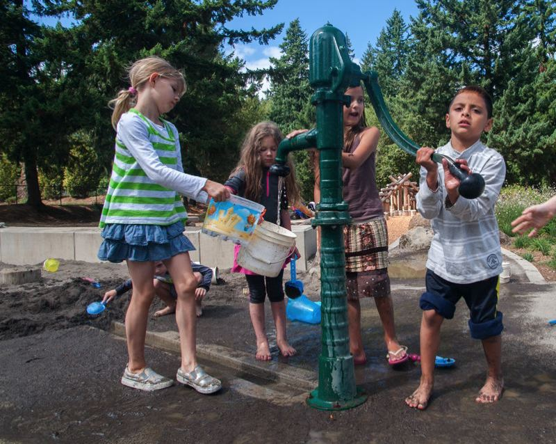 PMG FILE PHOTO - Kids gather around the old pump at Nadaka Nature Park.