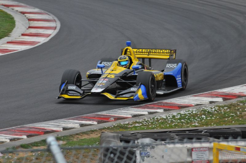 COURTESY PHOTO: JEFF ZURSCHMEIDE - Zach Veach takes some laps around Portland International Raceway during Wednesday testing by Andretti Autosport for the Sept. 1 Grand Prix of Portland IndyCar race.
