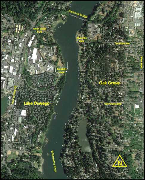 COURTESY PHOTO - The most popular bridge alignment options presented Tuesday landed in Foothills Park on the Lake Oswego side.