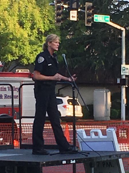 PMG PHOTO BY PETER WONG - Interim Police Chief Ronda Groshong speaks at National Night Out on Tuesday, Aug. 6, at Beaverton City Park.