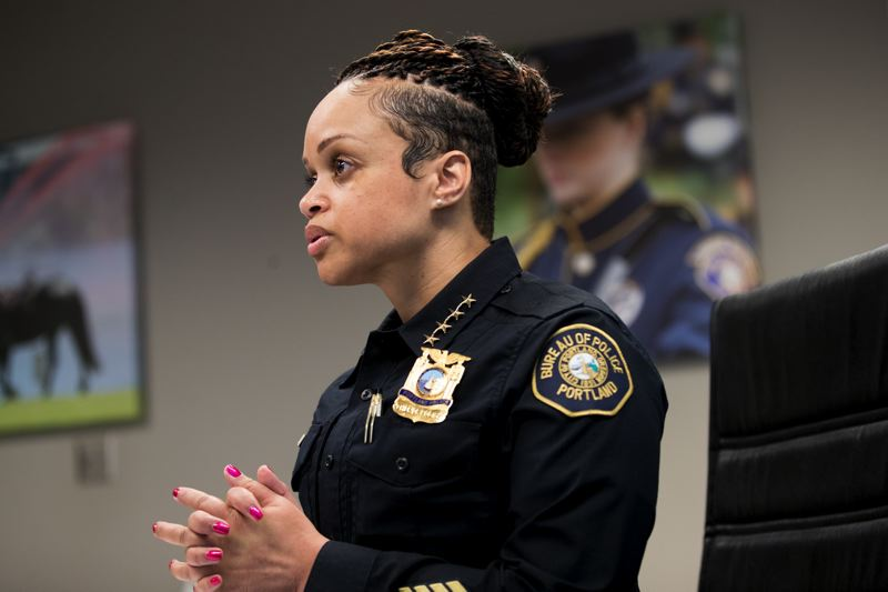 PMG FILE PHOTO - Portland Police Bureau Chief Danielle Outlaw said in a new podcast that she is confident local officers can handle trouble during a planned mid-August downtown demonstration by opposing political groups.