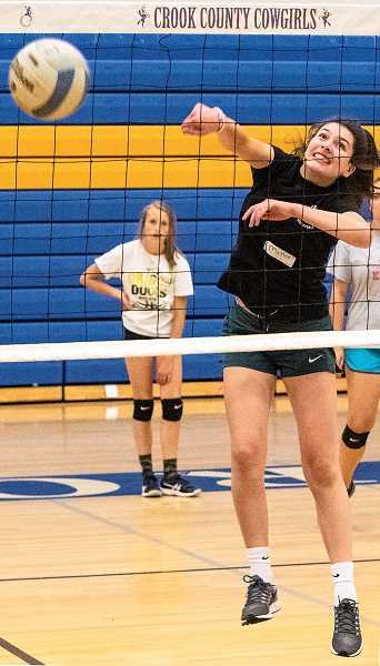 LON AUSTIN/CENTRAL OREGONIAN - Mattee Simmons spikes the ball during the Cowgirl Volleyball Camp that was held Monday and Tuesday in Prineville. Players from throughout Central Oregon attended the camp. Simmons played on the Cowgirls' JV team last year