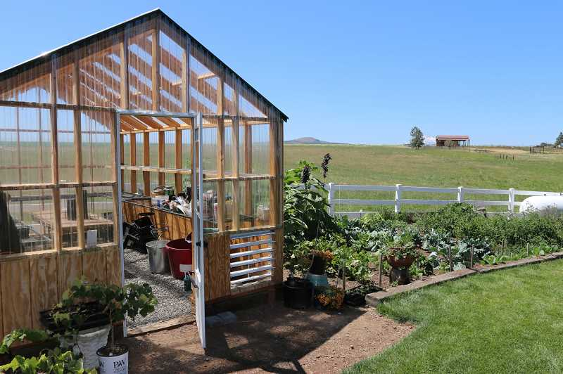 SUBMITTED PHOTO - A greenhouse and vegetable garden were featured at the home of Jeris and Gordon Clark, in Madras, on this year's High Desert Garden Tour.