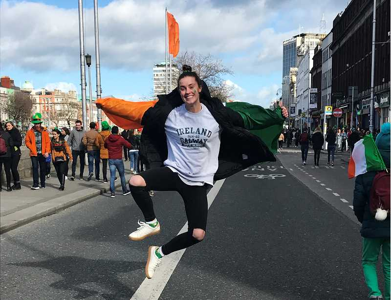 COURTESY PHOTO - Kristen Burke, a 2017 graduate of Wilsonville, and soccer and track athlete at Linfield College, spent St. Patrick's Day in Dublin, Ireland.