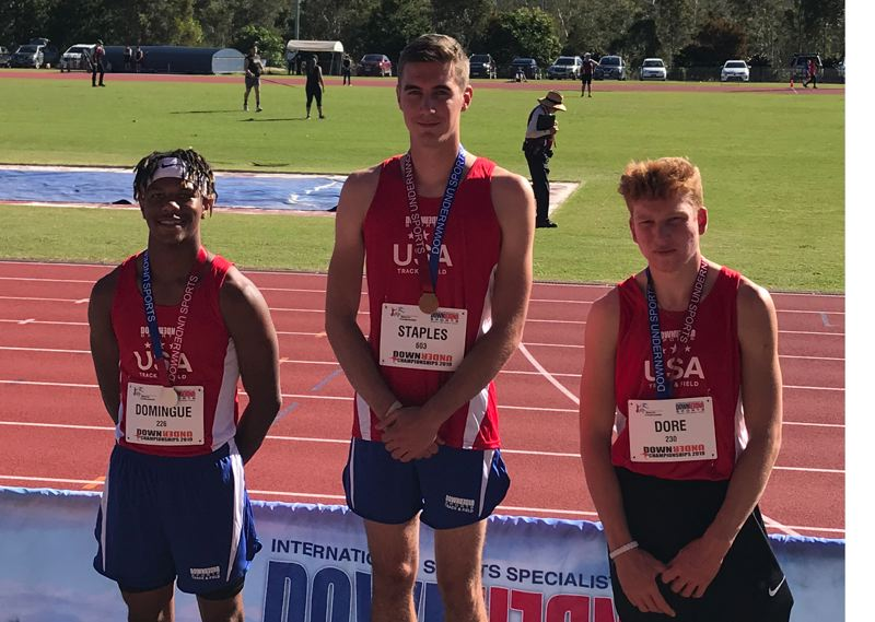 CONTRIBUTED PHOTO - Sandy High graduate Jackson Staples topped the podium with a win in the high jump at a showcase meet in Australia this summer.