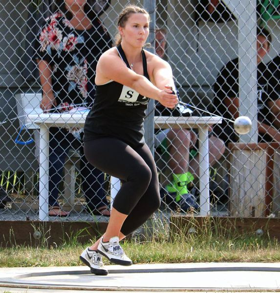 PMG PHOTO: JIM BESEDA - Lake Oswego's Ava David cranks it up en route to winning the hammer throw during the All-Comers Meet at Clackamas Community College on Friday, Aug. 9.