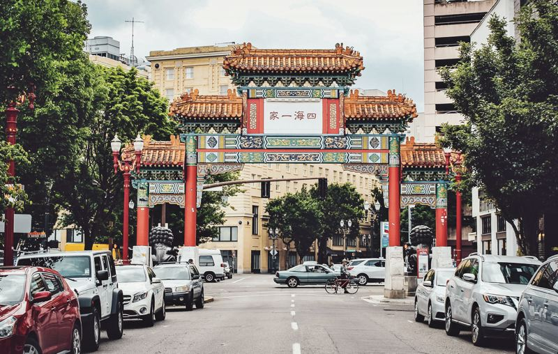 PMG PHOTO: SAMANTHA KAR - Built in 1986, the Chinatown Gate in Portland stands at Northwest 4th Avenue and West Burnside Street.