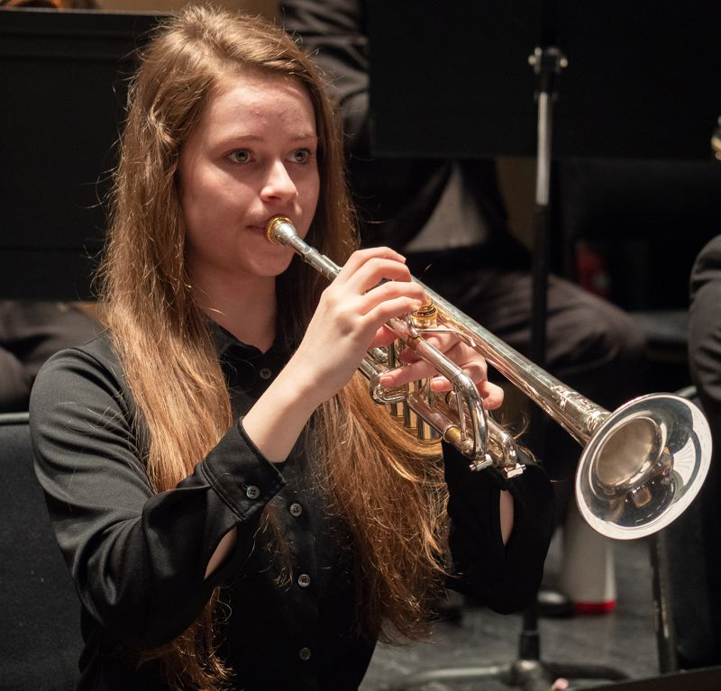 COURTESY PHOTO: BEV STANDISH FOR PORTLAND YOUTH PHILHARMONIC  - Corrie Williamson in actoin at a PYP concert.