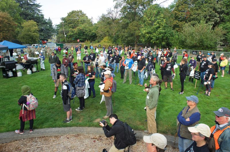 COURTESY PHOTO - Volunteers gather at Mill Park during last year's JCWC clean-up.