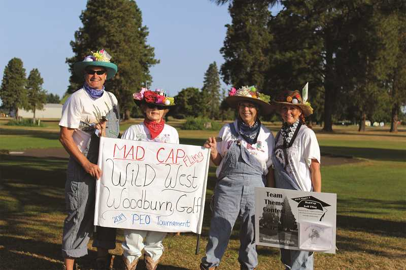 COURTESY PHOTO: SUSAN BUCK - The Wild West Woodburn Golf team won the contest for best costume at the Mad-Cap Golf Fling, an annual fundraiser by Woodburn P.E.O. Chapter J. The event raises scholarship money for girls seeking post high school education in the north Marion County region.