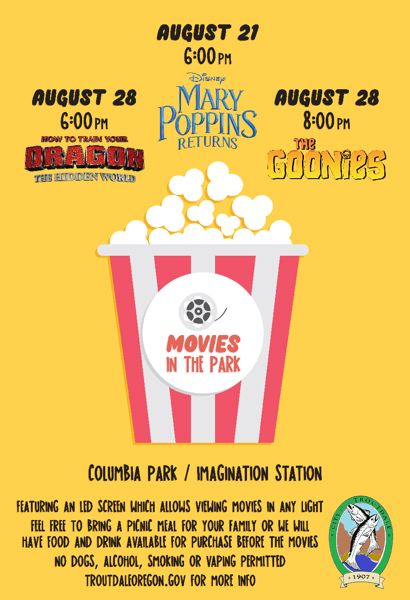 COURTESY GRAPHIC: CITY OF TROUTDALE - This poster can be found around Troutdale promoting the citys new Movies in the Park event held on consecutive Wednesdays, Aug. 21 and 28, and featuring three popular, family-friendly flicks.