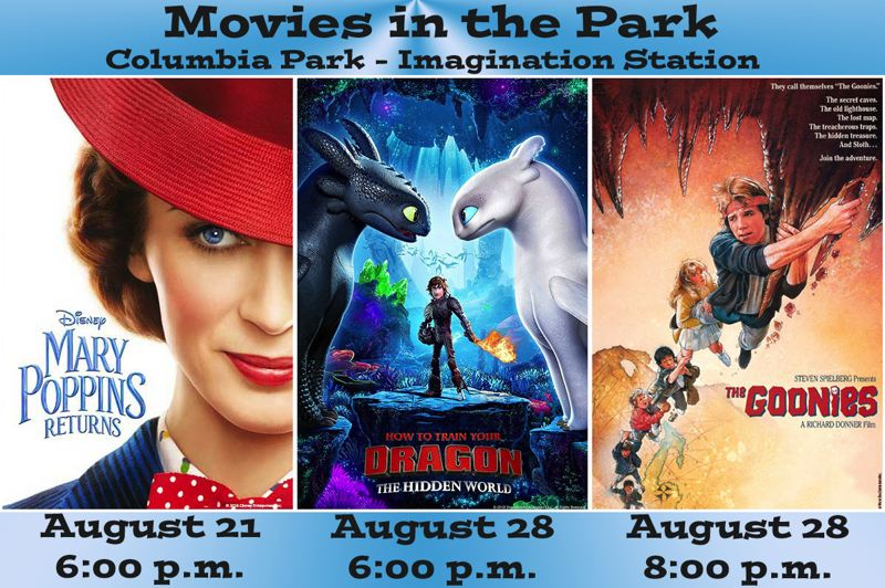 COURTESY GRAPHIC: CITY OF TROUTDALE - Movies in the Park, an event that hasnt been held in Troutdale since 2008, is back and featuring one Disney classic, an animated action-adventure flick and a beloved Oregon-based classic.
