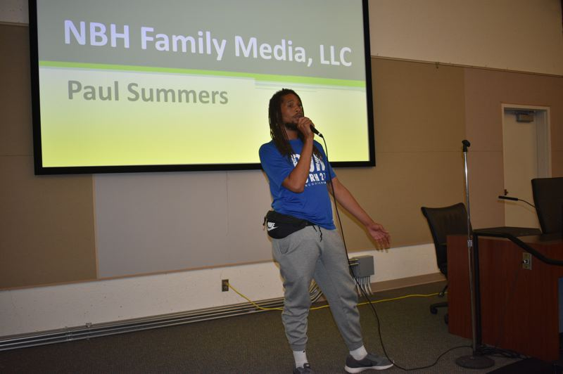 PMG PHOTO: SHANNON O. WELLS - Paul Summers shares his idea of a collectively run media company, NBH Family Media, at the East Metro Economic Alliances PItch Fest event last week.