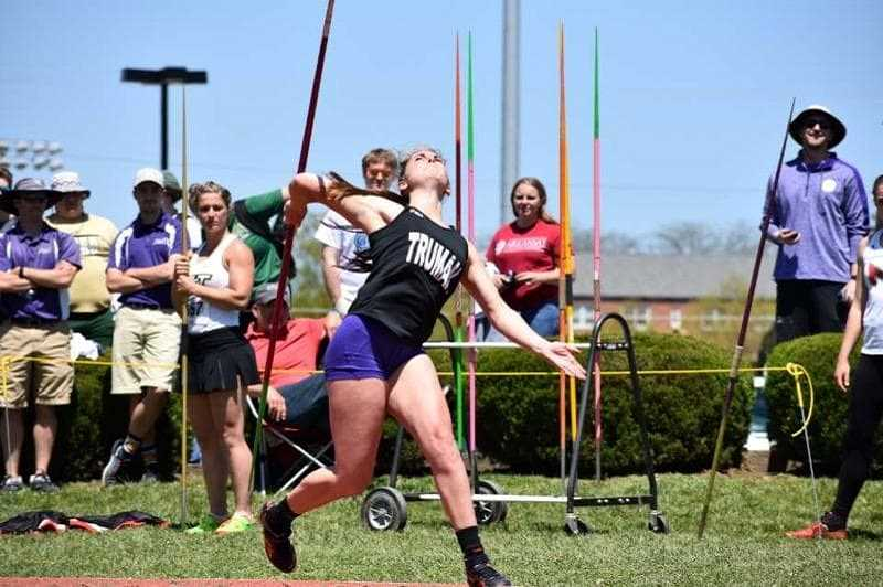 SUBMITTED PHOTO - Renault, who was not satisfied with just one conference gold medal, defended her javelin title again her senior year (129-01).