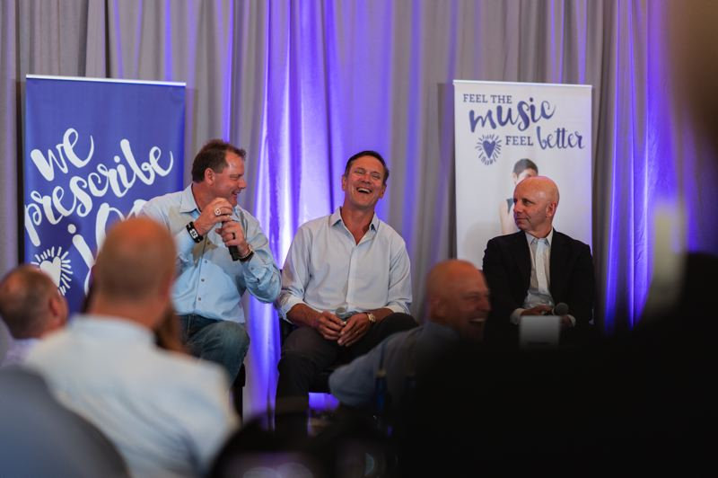 PORTLAND PHOTOGRAPHY - Former NFL quarterback Drew Bledsoe (center) shares a laugh with baseball pitching legend Roger Clemens (left) and ESPN sportscaster Sean McDonough during a fundraiser in Portland for the Children's Cancer Association.