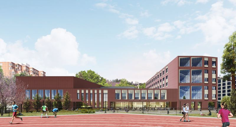 RENDERING COURTESY BORA ARCHITECTS - Bora Architects' new design for the Lincoln High School replacement was accepted by the Design Commission and construction will commence in February 2020. This is the view west across a new athletic field that will open last, in 2023.
