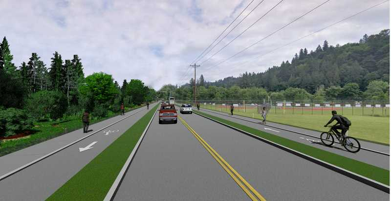COURTESY IMAGE  - The plans include bike and pedestrian paths on both sides of Willamette Falls Drive near Fields Bridge Park.