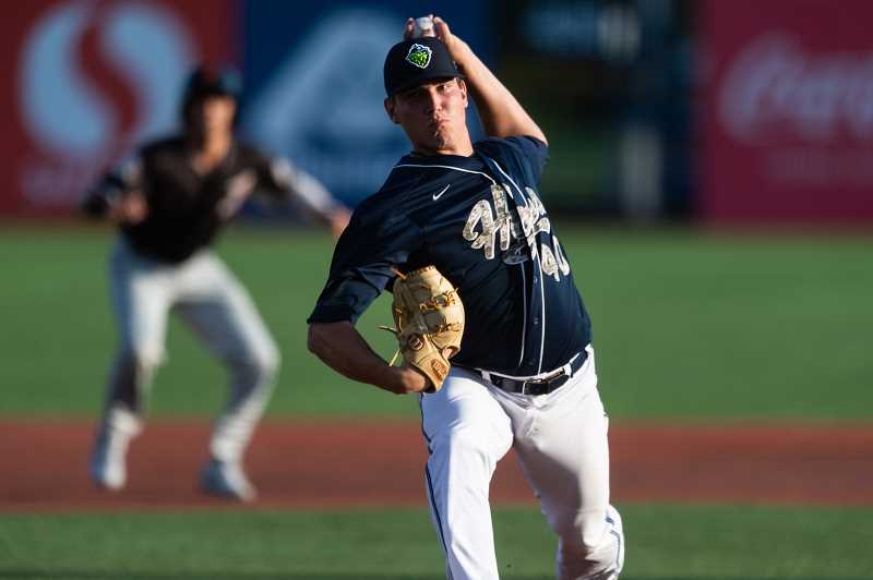PMG PHOTO: CHRISTOPHER OERTELL - Hillsboro Hops pitcher Tyler Holton (40) as the Hillsboro Hops played the Salem-Keizer Volcanoes at Ron Tonkin Field in Hillsboro on Saturday, Aug. 3. Holton pitched five scoreless innings at Everett Sunday, Aug. 11.