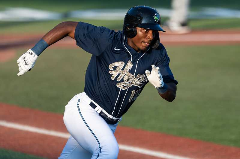 PMG PHOTO: CHRISTOPHER OERTELL - Hillsboro Hops outfielder Jesus Marriaga (18) as the Hillsboro Hops played the Salem-Keizer Volcanoes at Ron Tonkin Field in Hillsboro on Aug. 3. Marriaga had two hits in the Hops 10-1 win at Everett Sunday, Aug. 11.