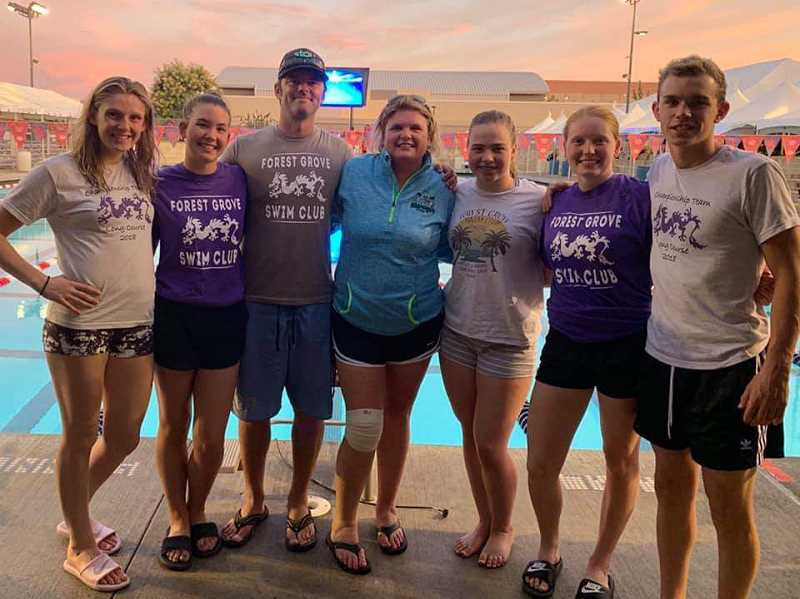 COURTESY PHOTO - Forest Grove 2019 graduates Hunter Bartoo and Daphne Janko, along with seniors Luci Brenner and Alex Moehnke and sophomore McKenzie Brennan were among 700 swimminers under the age of 19 to compete at the Clobis Aquatics Complex in Fresno, California.