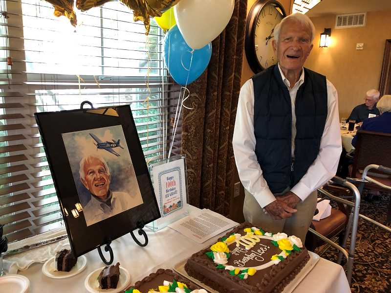 PMG PHOTO:  - Lee Grace, a resident at The Stafford Boutique Retirement Community, celebrated his 100th birthday Aug. 5.