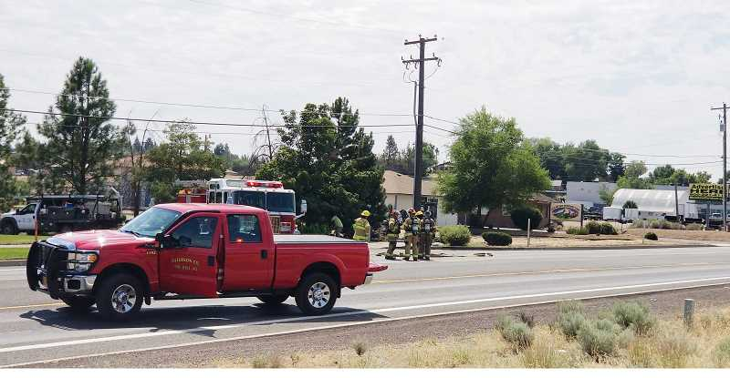 SUBMITTED PHOTO - U.S. Highway 97 was closed for a gas line leak on the south end of Madras Aug. 8, for about 90 minutes.