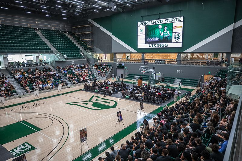 PMG PHOTO: JONATHAN HOUSE - A reflection on the life of Deante Strickland draws nearly 1,000 people to Viking Pavilion on Wednesday in honor of the former Portland State and Central Catholic High basketball and football player, who died Aug. 2 at age 22.