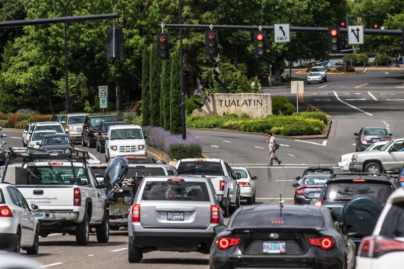 PMG FILE PHOTO - Traffic builds up on Tualatin-Sherwood Road near the I-5 interchange.