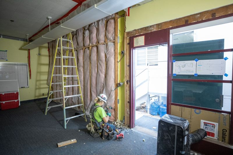 PMG PHOTO: JONATHAN HOUSE - A classroom at Westridge Elementary School gets new insulation during construction.