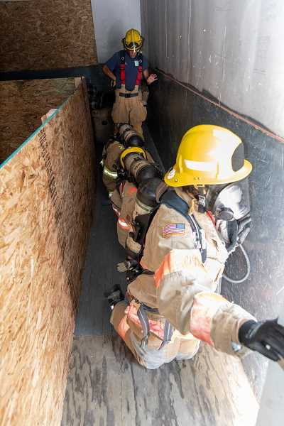 COURTESY PHOTO - Campers participated in search and rescue simulations during the Metro Fire Camp Aug. 2-4.