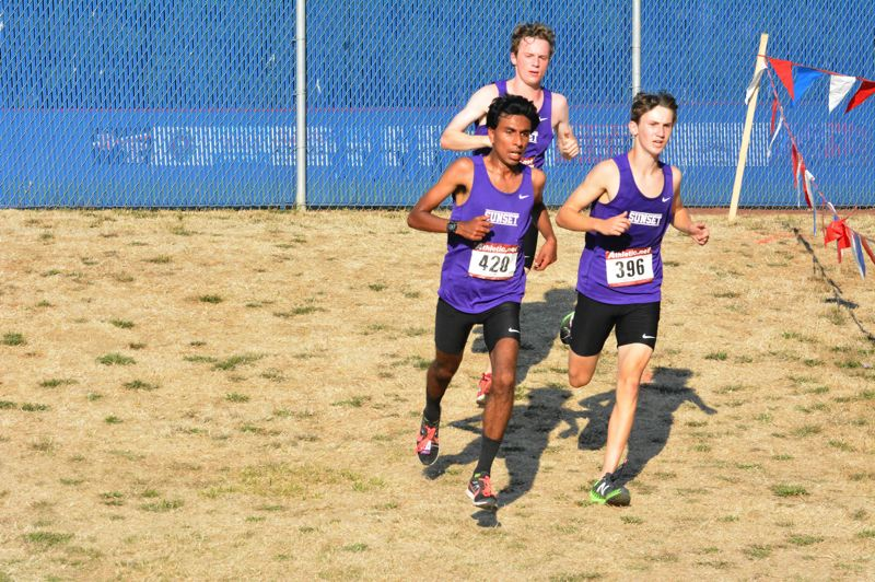 TIMES FILE PHOTO - Sunset senior Mason Gerwig (far right) leads a talented pack of Apollo boy cross country runner this season.