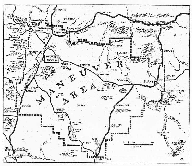 A map from 1943 shows the area used for the Oregon Maneuvers.