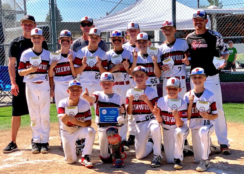 COURTESY PHOTO - Sherwood won the JBO Junior Federal State Tournament. Pictured are (top row, from left) assistant coach Jimmy Davis, head coach Jay Johnson, assistant coach Mike Bernards, (middle row) Conner Reilly, Brady Hix, Eli Schweitzer, Carson Miller, Owen Rainey, Landon Brown, Jackson Bell, (front row), Austin Bernards, Colby Stevenson, Parker Davis, Jackson Johnson and Peyton Nash.