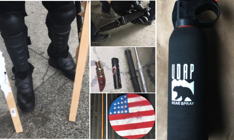 VIA PPB - Portland police released photos of some of the weapons, including knives, a shield, lumber, and bear spray, that were confiscated during the Aug. 17 protest.