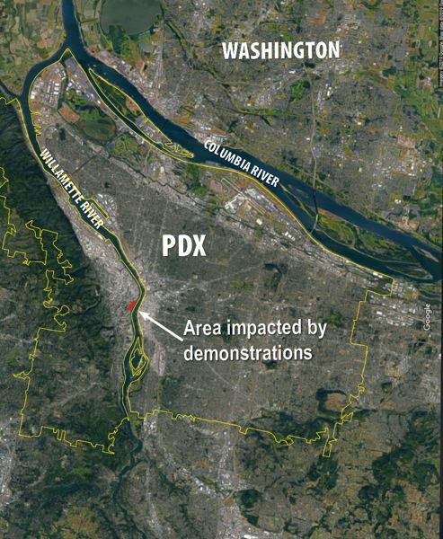VIA PPB - Portland Police said the Central City area impacted by the Saturday protests on Aug. 17 was quite small, geographically speaking