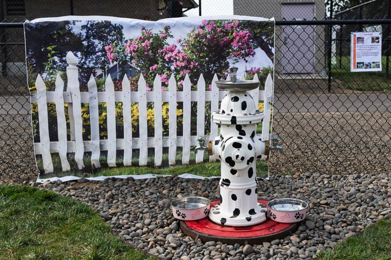 PMG PHOTO: CHRISTOPHER OERTELL - The Cornelius Public Works Department provided a drinking fountain built to look like a painted fire hydrant with Dalmatian spots.