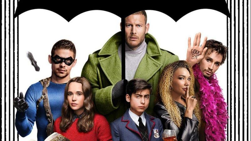 PHOTO COURTESY OF NETFLIX - Cast members of The Umbrella Academy include, clockwise from lower right, Ellen Page (Vanya), David Castaneda (Diego), Tom Hopper (Luther), Robert Sheehan (Klaus), Emmy Raver-Lampman (Allison) and Aiden Gallagher (Number Five).